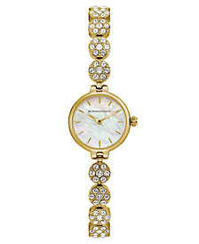 BCBG MaxAzria Ladies GoldTone Crystal Bracelet with MOP Dial, 22MM