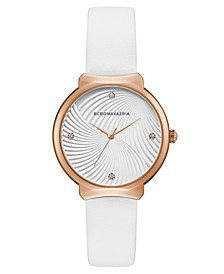 Ladies White Leather Strap Watch with White Wave Textured Dial, 32mm