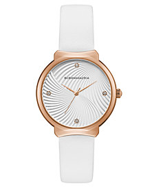 BCBG MaxAzria Ladies White Leather Strap Watch with White Wave Textured Dial, 32MM