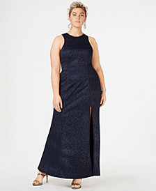 Speechless Trendy Plus Size Sleeveless Glitter Gown, Created for Macy's