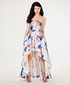 Speechless Juniors' Strapless Allover-Floral High-Low Gown, Created for Macy's