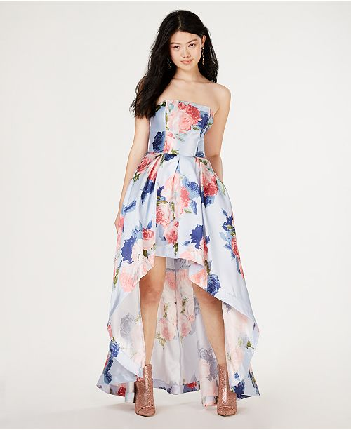 b922b82e5eb1 Speechless Juniors' Strapless Allover-Floral High-Low Gown, Created for  Macy's ...