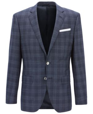 Boss Men'S Slim Fit Checked Virgin Wool Blazer in Light/Pastel Blue