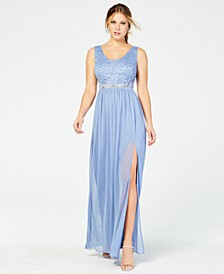Juniors' Sequined Lace & Chiffon Gown, Created for Macy's