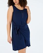 5021d08eccba03 Style   Co Plus Size Tie-Front Swing Dress