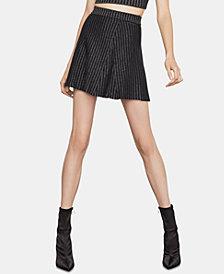 BCBGMAXAZRIA Metallic-Striped Mini Skirt