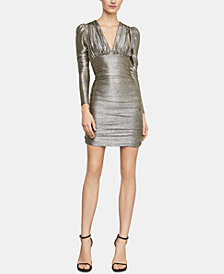 BCBGMAXAZRIA Metallic Empire-Waist Sheath Dress