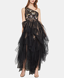 BCBGMAXAZRIA Embroidered One-Shoulder Tulle Gown