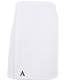 100% Turkish Cotton Terry Personalized Men's Bath Wrap - White