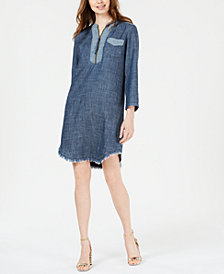 Trina Turk Kaiko Frayed-Hem Denim Dress