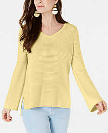 Style & Co Cotton Waffle-Stitch Sweater, Created for Macy's