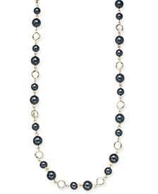 "Gold-Tone Crystal & Colored Imitation Pearl Strand Necklace, 42"" + 2"" extender, Created for Macy's"