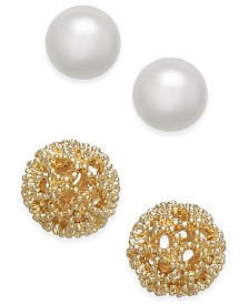 Charter Club Gold-Tone 2-Pc. Set Textured & Imitation Pearl Stud Earrings, Created for Macy's
