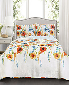 Percy Bloom 3-Pc Set King Quilt Set