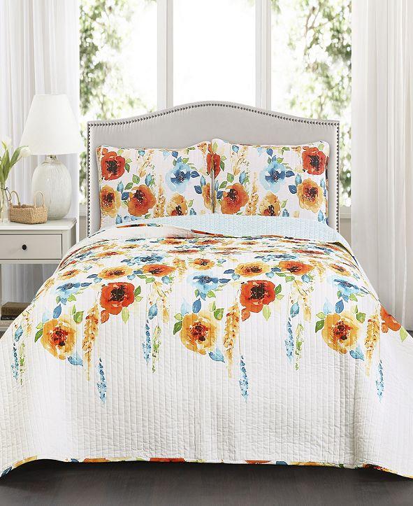 Lush Decor Percy Bloom 3-Pc Set King Quilt Set