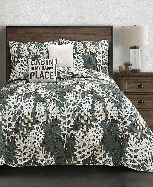 Lush Decor Camouflage Leaves 5-Pc. Quilt Sets