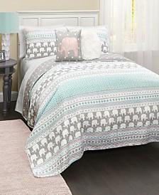 Elephant Stripe 4-Pc Set Twin Quilt Set