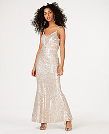 Crystal Doll Juniors' Allover-Sequin Blouson Gown