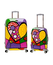 Rockland Hearts 2PC Hardside Luggage Set