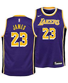 Nike LeBron James Los Angeles Lakers Statement Swingman Jersey, Big Boys (8-20)