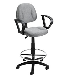 Boss Office Products Adjustable Loop Arm Drafting Stool With Wheel Casters