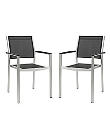 Shore Dining Chair Outdoor Patio Aluminum Set of 2 Black