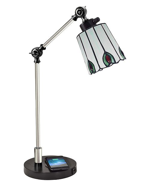 Dale Tiffany Penfold Tiffany Desk Lamp With Wireless, Usb Charger