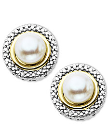 Sterling Silver and 14k Gold Earrings, Cultured Freshwater Pearl and Diamond Accent Stud Earrings