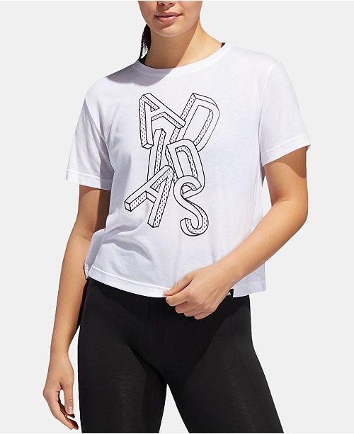c0b12b219df adidas Logo-Graphic ClimaLite® Cropped T-Shirt   Reviews - Tops ...