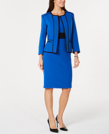Kasper Piped-Trim Open-Front Blazer & Sheath Dress
