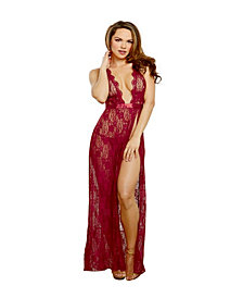 Side Slit Lace Gown