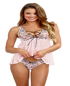 Lace Up Neckline Babydoll