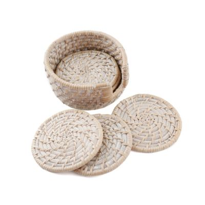 Set of 6 Whitewash Rattan Coasters in Holder