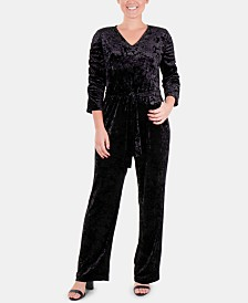 NY Collection Petite Ruched-Sleeve Velvet Jumpsuit