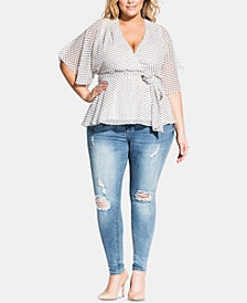 City Chic Trendy Plus Size Alika Faux-Wrap Top