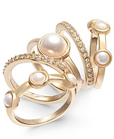 INC Gold-Tone 5-Pc. Set Pavé & Imitation Pearl Stackable Rings, Created for Macy's