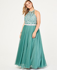 Trendy Plus Size Rhinestone Tulle Gown