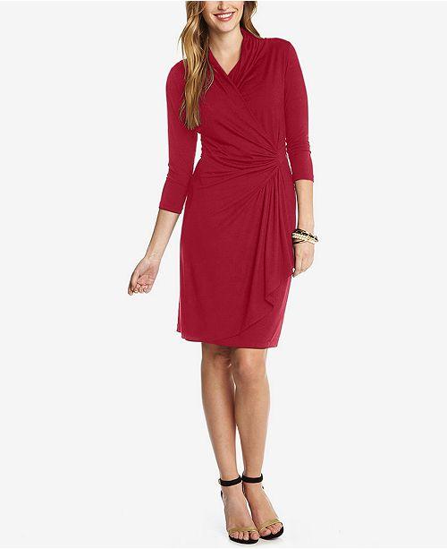 Karen Kane Three Quarter Sleeve Faux Wrap Dress Dresses Women