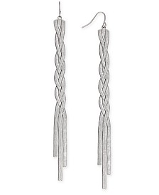 Thalia Sodi Silver-Tone Braided Herringbone Chain Linear Drop Earrings, Created for Macy's