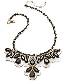 "Thalia Sodi Two-Tone Crystal & Stone Intertwined Cord Statement Necklace, 17"" + 3"" extender, Created for Macy's"