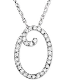 """Diamond Initial Pendant Necklace (1/10 ct. t.w.) in Sterling Silver, 16"""" + 2"""" Extender"""