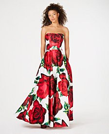 Blondie Nites Juniors' Rose-Print Strapless Ballgown