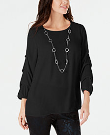 JM Collection Petite Gathered-Sleeve Top, Created for Macy's