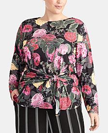 RACHEL Rachel Roy Trendy Plus Size Ginger Front-Tie Top, Created for Macy's