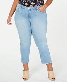 Jessica Simpson Juniors' Arrow Plus Size Cropped Straight-Leg Jeans