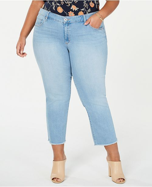 Jessica Simpson Trendy Plus Size Cropped Straight-Leg Jeans