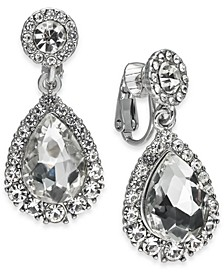 Silver-Tone Crystal Clip-On Drop Earrings, Created for Macy's