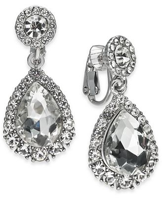 Charter Club Silver-Tone Crystal Clip-On Drop Earrings, Created for Macy's