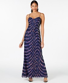Adrianna Papell Swirling Sequined Gown, Regular & Petite