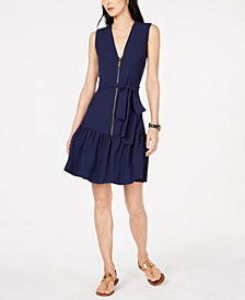 MICHAEL Michael Kors Cady Zippered Belted Dress